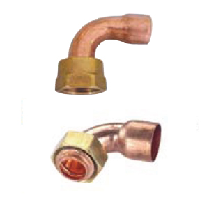 Curved copper fittings with nut without seal