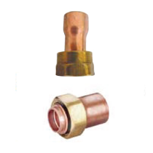 Straight copper fittings with nut without seal