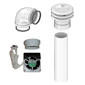 Accessories for heaters for evacuation of smokes