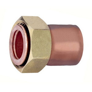 Straight copper fittings without seal, flat seat