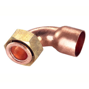 Curved copper fittings without seal, flat seat