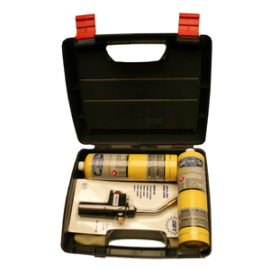 CASE W/. 2 MAPP CARTRIDGES+TORCH